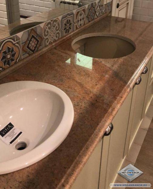 Гранитная столешница для ванной комнаты из сорта Мадура Голд