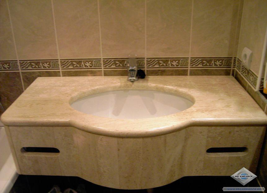 Столешница для ванной комнаты из мрамора Дайно Реале