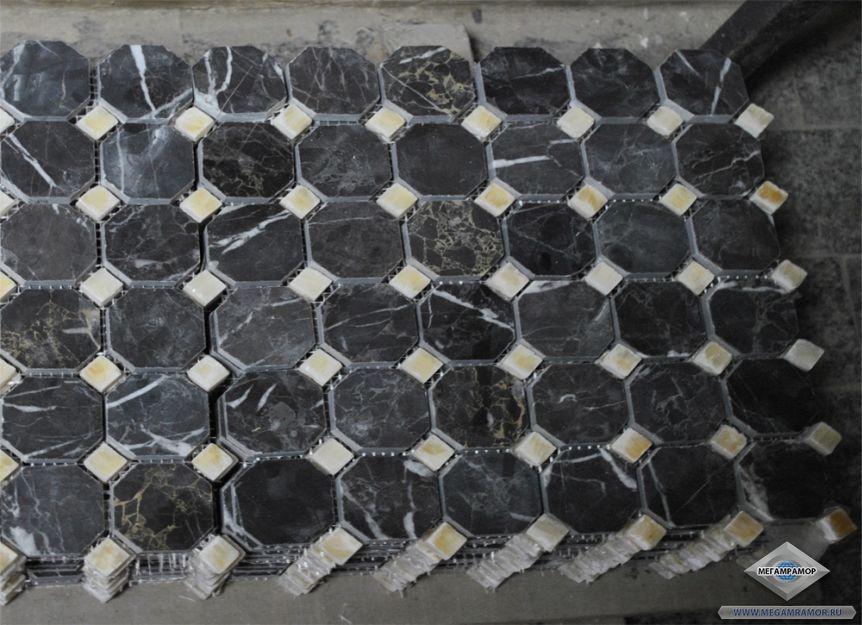 Мозаика из мрамора Алания Блэк и оникса Ониче Крема