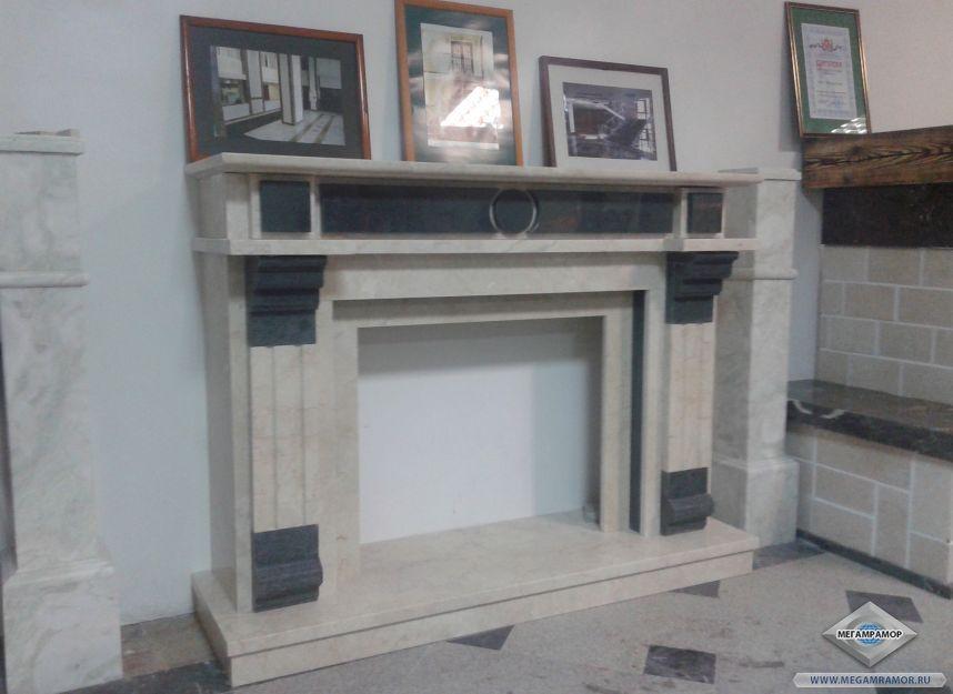 Каминный портал из мрамора перед установкой
