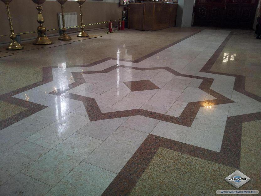 Полы в храме из гранита Вайт Перл, Мапл Ред, Сансет Голд