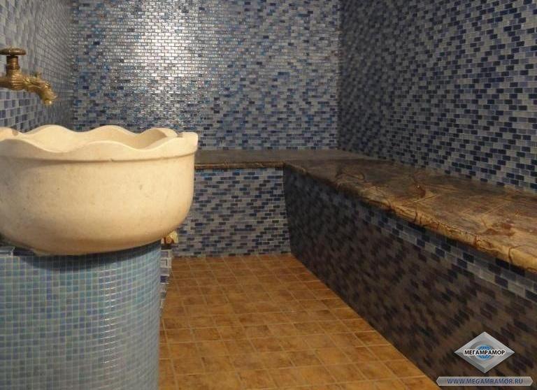 Лавка в хамам из мрамора Бидасар Браун