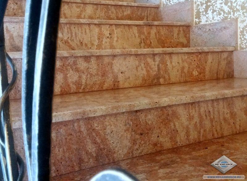 Стыковка гранитных плит - подступёнка и проступи